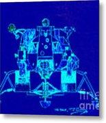 The Eagle Apollo Lunar Module In Blue Metal Print