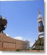 The Earthquake Memorial Statue And The Arch Of Neutrality In Ashgabat Turkmenistan Metal Print