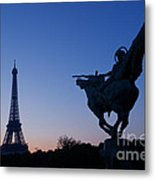 The Eiffel Tower And Joan Of Arc Statue  At Sunrise Metal Print