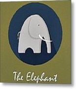 The Elephant Cute Portrait Metal Print