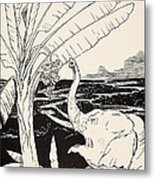 The Elephant's Child Going To Pull Bananas Off A Banana-tree Metal Print