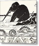 The Elephant's Child Having His Nose Pulled By The Crocodile Metal Print by Joseph Rudyard Kipling