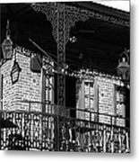 The Embers Bourbon House Restaurant In Black And White Metal Print