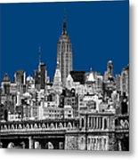 The Empire State Building Pantone Blue Metal Print by John Farnan