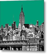 The Empire State Building Pantone Emerald Metal Print