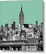 The Empire State Building Pantone Jade Metal Print