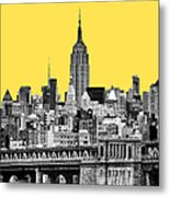 The Empire State Building Pantone Yellow Metal Print by John Farnan