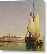 The Euganean Hills And The Laguna Of Venice - Trabaccola Waiting For The Tide Sunset Metal Print by Edward William Cooke