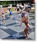 Joyful Young Girl Playing In Fountain Metal Print