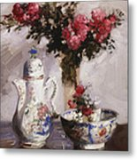 The Famille Rose Coffee Pot Metal Print
