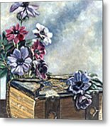 The Family Bible Graced By Anemones Metal Print