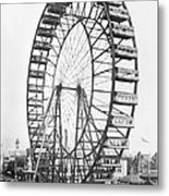 The Ferris Wheel At The Worlds Columbian Exposition Of 1893 In Chicago Bw Photo Metal Print