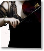 The Fiddle Player In Violin Concerto A Minor Grunge Metal Print