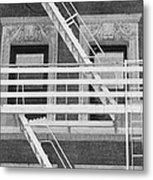 The Fire Escape In Black And White Metal Print