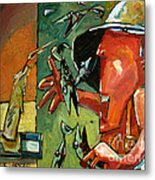 The Fish Juggler In The White Hat In Candlelight Metal Print by Charlie Spear