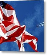 The Flag And The Blue Angels Metal Print