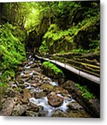 The Flume With Flowing Water Metal Print