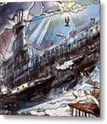 The Flying Submarine Metal Print