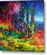 The Forest With Figure Metal Print