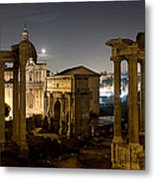 The Forum Temples At Night Metal Print