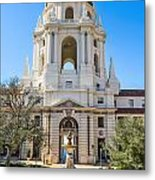 The Fountain - The Beautiful Pasadena City Hall. Metal Print