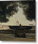 The Fountain Of The French Academy In Rome, 1826-27 Oil On Canvas Metal Print