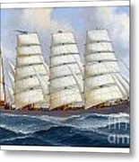 The Four-masted Barque Cedarbank At Sea Under Full Sail Metal Print