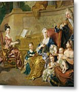 The Franqueville Family, 1711 Oil On Canvas Metal Print