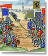 The French Defeat The Flemish Metal Print