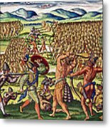 The French Help The Indians In Battle Metal Print