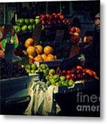 The Fruit Seller - New York City Street Scene Metal Print