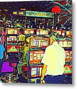 The Gambler Meets The One Armed Bandit In Casino Royale Standoff At High Noon Urban Casino Art Scene Metal Print