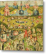 The Garden Of Earthly Delights Allegory Of Luxury, Central Panel Of Triptych, C.1500 Oil On Panel Metal Print