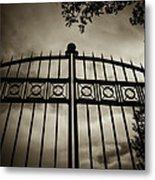 The Gate In Sepia Metal Print