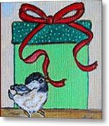 The Gift - Christmas Chickadee Whimsical Painting By Ella Metal Print
