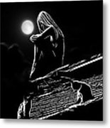 The Girl On The Roof Metal Print