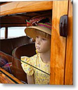 The Girl The Hat The Woodie Metal Print by Ron Regalado