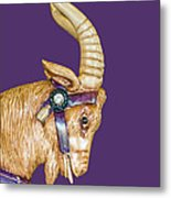 The Goat Who Likes Purple Metal Print