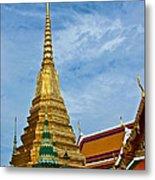The Golden Chedis At Grand Palace Of Thailand In Bangkok Metal Print