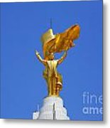 The Golden Niyazov Statue On Top Of The Arch Of Neutrality In Ashgabat Turkmenistan Metal Print