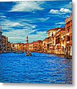 The Grand Canal Impasto Metal Print