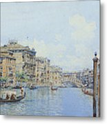 The Grand Canal With A View Of Palace Metal Print