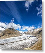 The Great Aletsch Glacier And Deep Blue Sky Metal Print