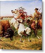 The Great Royal Buffalo Hunt Metal Print by Louis Maurer