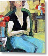 The Green Chair Metal Print by Becky Kim