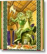 The Green Knight Christmas Card Metal Print