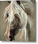 The Grey Horse Soft Pastel Metal Print