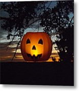 The Hanging Pumpkin Metal Print by Rebecca Cearley