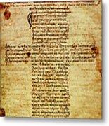 The Hippocratic Oath - Facsimile Metal Print