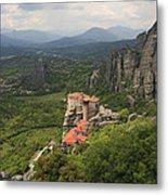 The Holy Monastery Of Rousanou Meteora Greece  Metal Print
